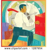 Vector Clip Art of Retro White Business Man Running over a Clock and Colorful Graph Bars by Patrimonio