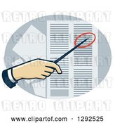 Vector Clip Art of Retro White Hand Using a Pointer to Direct Attention to a Data Sheet by Patrimonio