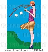 Vector Clip Art of Retro White Lady Reading a Book in the Wind by Pauloribau