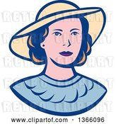 Vector Clip Art of Retro White Lady Wearing a Hat by Patrimonio