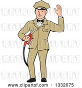 Vector Clip Art of Retro White Male Gas Station Attendant Jockey Holding a Nozzle and Waving by Patrimonio