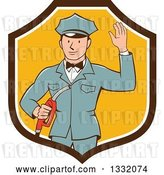 Vector Clip Art of Retro White Male Gas Station Attendant Jockey Holding a Nozzle and Waving in a Brown White and Yellow Shield by Patrimonio