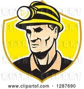 Vector Clip Art of Retro White Male Miner with a Headlamp in a Yellow and White Shield by Patrimonio