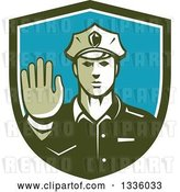 Vector Clip Art of Retro White Male Police Officer Gesturing Stop with His Hand Inside a Green White and Blue Shield by Patrimonio