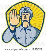 Vector Clip Art of Retro White Male Police Officer Gesturing Stop with His Hand Inside a Ray Shield by Patrimonio
