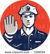 Vector Clip Art of Retro White Male Police Officer Gesturing Stop with His Hand Inside a Red Circle by Patrimonio