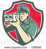 Vector Clip Art of Retro White Male Police Officer Using a Speed Radar Camara in Green White and Red Shield by Patrimonio