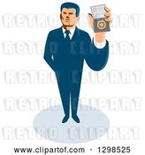 Vector Clip Art of Retro White Male Secret Agent Holding up an Id Badge by Patrimonio