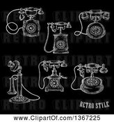 Vector Clip Art of Retro White Sketched Antique Telephones on Black by Vector Tradition SM