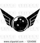 Vector Clip Art of Retro Winged Bowling Ball by Vector Tradition SM