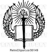 Vector Clip Art of Retro Winged Open Holy Bible Book and Torch by Prawny Vintage
