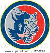 Vector Clip Art of Retro Wolf Attacking and Running in a Yellow Blue White and Red Circle by Patrimonio
