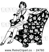 Vector Clip Art of Retro Woman Crying in a Chair by Prawny Vintage