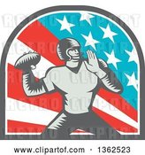 Vector Clip Art of Retro Woodcut American Football Player Quarterback Throwing in an American Arch by Patrimonio