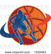Vector Clip Art of Retro Woodcut Basketball Player Dribbling over a Ball by Patrimonio