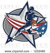 Vector Clip Art of Retro Woodcut Basketball Player over an American Swoosh and Star by Patrimonio