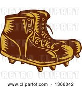 Vector Clip Art of Retro Woodcut Brown and Orange Pair of Rugby Football Boots by Patrimonio