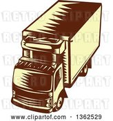 Vector Clip Art of Retro Woodcut Brown and Yellow Refrigerated Big Rig Truck from Above by Patrimonio