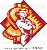 Vector Clip Art of Retro Woodcut Business Man with Folded Arms over a Dollar Symbol and Diamond by Patrimonio