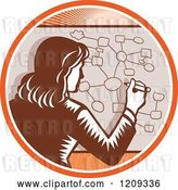 Vector Clip Art of Retro Woodcut Business Woman Drawing a Complex Diagram in an Orange Sunny Circle by Patrimonio