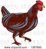 Vector Clip Art of Retro Woodcut Chicken in Profile by Patrimonio