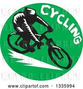 Vector Clip Art of Retro Woodcut Cyclist with Text in a Green Circle by Patrimonio