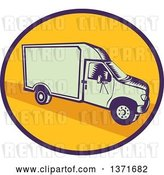 Vector Clip Art of Retro Woodcut Delivery Truck or Van in a Blue and Yellow Oval by Patrimonio