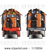 Vector Clip Art of Retro Woodcut Diesel Trains Shown Front and Back by Patrimonio