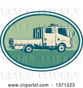 Vector Clip Art of Retro Woodcut Double Cab Truck in an Oval by Patrimonio