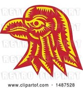 Vector Clip Art of Retro Woodcut Eagle Head in Profile by Patrimonio