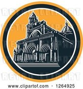 Vector Clip Art of Retro Woodcut Facade of the Manila Cathedral in Intramuros, Manila, Philippines by Patrimonio