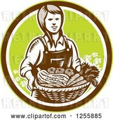 Vector Clip Art of Retro Woodcut Female Farmer Holding a Basket of Produce in a Circle by Patrimonio