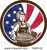 Vector Clip Art of Retro Woodcut Female Farmer Holding a Basket of Produce in an American Flag Circle by Patrimonio