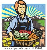 Vector Clip Art of Retro Woodcut Female Farmer with a Basket Full of Organic Produce by Patrimonio