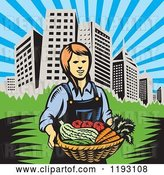 Vector Clip Art of Retro Woodcut Female Farmer with a Basket Full of Organic Produce near a City by Patrimonio