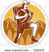 Vector Clip Art of Retro Woodcut Female Hiker over Mountains and Sunshine in a Circle by Patrimonio