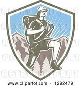 Vector Clip Art of Retro Woodcut Female Hiker over Mountains and Sunshine in a Shield by Patrimonio