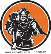 Vector Clip Art of Retro Woodcut Firefighter Carrying a Lady in a Black White and Orange Circle by Patrimonio