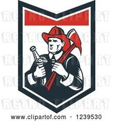 Vector Clip Art of Retro Woodcut Firefighter Holding an Axe and Hose in a Shield by Patrimonio