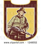 Vector Clip Art of Retro Woodcut Firefighter with a Hose in a Shield by Patrimonio