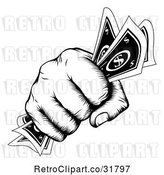 Vector Clip Art of Retro Woodcut Fist Holding Cash Money by AtStockIllustration