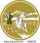 Vector Clip Art of Retro Woodcut Fly Fisher Man Reeling in a Trout Fish and Wading in a Lake Inside a Green and White Circle by Patrimonio