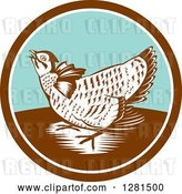 Vector Clip Art of Retro Woodcut Greater Prairie Chicken in a Brown White and Turquoise Circle by Patrimonio