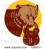 Vector Clip Art of Retro Woodcut Grizzly Bear with a Padlock in His Mouth, Emerging from a Yellow Circle by Patrimonio