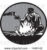 Vector Clip Art of Retro Woodcut Guy Accepting a Cup of Coffee by a Campfire by Patrimonio