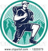 Vector Clip Art of Retro Woodcut Guy Hiking over Mountains in a Turquoise Circle by Patrimonio