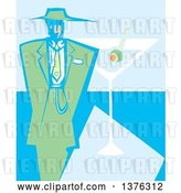 Vector Clip Art of Retro Woodcut Guy in a Green Zoot Suit over a Martini Cocktail by Xunantunich
