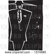 Vector Clip Art of Retro Woodcut Guy in a Zoot Suit by Xunantunich