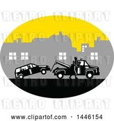 Vector Clip Art of Retro Woodcut Guy Towing a Car on a City Roadside by Patrimonio