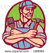 Vector Clip Art of Retro Woodcut Handy Guy Holding a Paintbrush and Hammer in a Marroon and Green Oval by Patrimonio